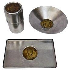 Bronze Medallions Maria Anna Augusta c.1836 Austria Coronation Modern Stainless Desk Set