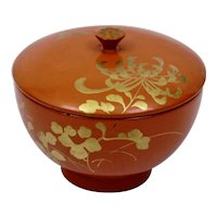Japanese Red Orange Lacquerware Covered Bowl Gilded Floral Chrysanthemum Butterfly Motif