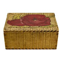 Folk Art Pyrography Wood Box Hand Decorated Red Floral Motif Hinged Lid Signed