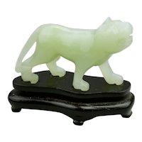 Carved Jade Jadeite Miniature Tiger Light Translucent Pale Green Color Fitted Wood Base