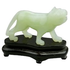 Carved Jade Jadeite Miniature Tiger Light Translucent Pale Green Color Fitted Wood Base
