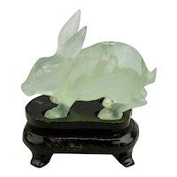 Carved Jade Jadeite Miniature Rabbit Light Translucent Pale Green Color Fitted Wood Base