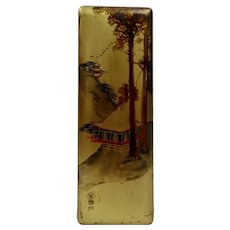 Japanese Lacquerware Box Hinged Lid Gilded Hand Painted Details Signed