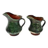Mexican Pottery Small Pitchers Creamers Rustic Green Glaze Pair