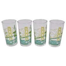 Mackinac Bridge Glass Tumblers Mid Century Set Of Four Colorful Basket Weave Tray c.1960