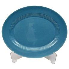 Homer Laughlin Harlequin China Pottery Turquoise Blue Oval Serving Platter
