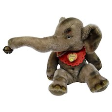 Steiff Jumbo Elephant Mohair Animal Figure Metal Button Yellow Tag Paper Label