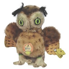 Steiff Wittie Owl Mohair Animal Figure Metal Button Yellow And Paper Tag
