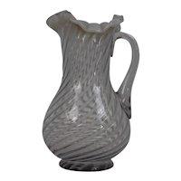 Northwood Glass Company Large Pitcher White Opaline Swirled Stripe