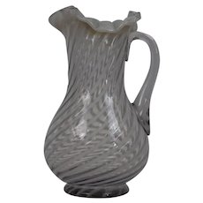 Northwood Glass Company Large Pitcher White Opaline Swirled Stripe