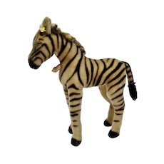 Steiff Large Zebra Mohair Animal Figure Metal Button Yellow Tag Paper Label