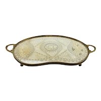 Kidney Shaped Fine Lace Between Glass Vanity Dresser Tray with handles France