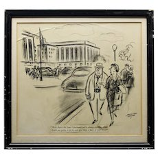 Original Pen And Ink Political Cartoon By Leonard Dove State Department Washington D.C. Framed