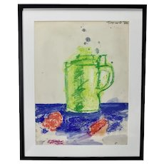 John Torreano Contemporary Modern Colorful Coffee Pot Abstract Art Painting On Paper c.1960's