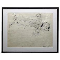 John Torreano Contemporary Art Rocket Man In Flight Pen And Ink On Paper c.1965