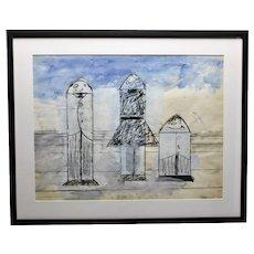 John Torreano Contemporary Art Three Rocket Figures Paint Pen And Ink On Paper c.1965