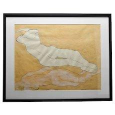 John Torreano Contemporary Art Reclining Female Figures Paint Pen Ink On Paper c.1966