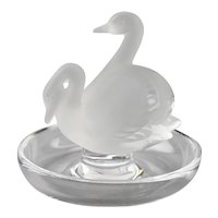Lalique Crystal Trinket Pin Nut Dish With Double Swans Figure Motif France