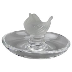 Lalique Crystal Trinket Pin Nut Dish With Wren Bird Figure Motif France