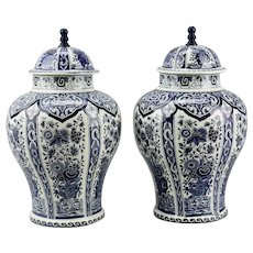 Pair Delft Style Covered Ginger Jars Blue And White Boch Belgium Pottery Royal Sphinx