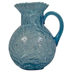 Northwood Glass Company Large Pitcher Daisy Fern Blue Opalescent