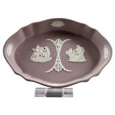 Wedgwood Lavender Jasper Ware Fluted Oval Dish England c.1970's