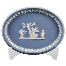 Wedgwood Light Blue Jasper Ware Oval Dish Tray England c.1970's