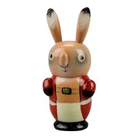 Easter Bunny Three Piece Wood Nesting Toy Colorful Hand Painted Details Japan