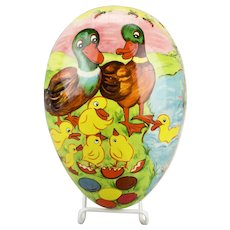 Large Paper Mache Easter Egg Candy Container Mallards Baby Ducks Chicks Hatching Colorful Eggs Motif Dresden Trim Double Sided East Germany