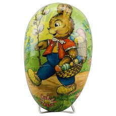 Extra Large Paper Mache Easter Egg Rabbit Pussy Willow Candy Container Double Sided Dresden Trim Western Germany