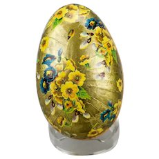 Paper Mache Easter Egg Candy Container Gilded Floral Motif Double Sided Western Germany