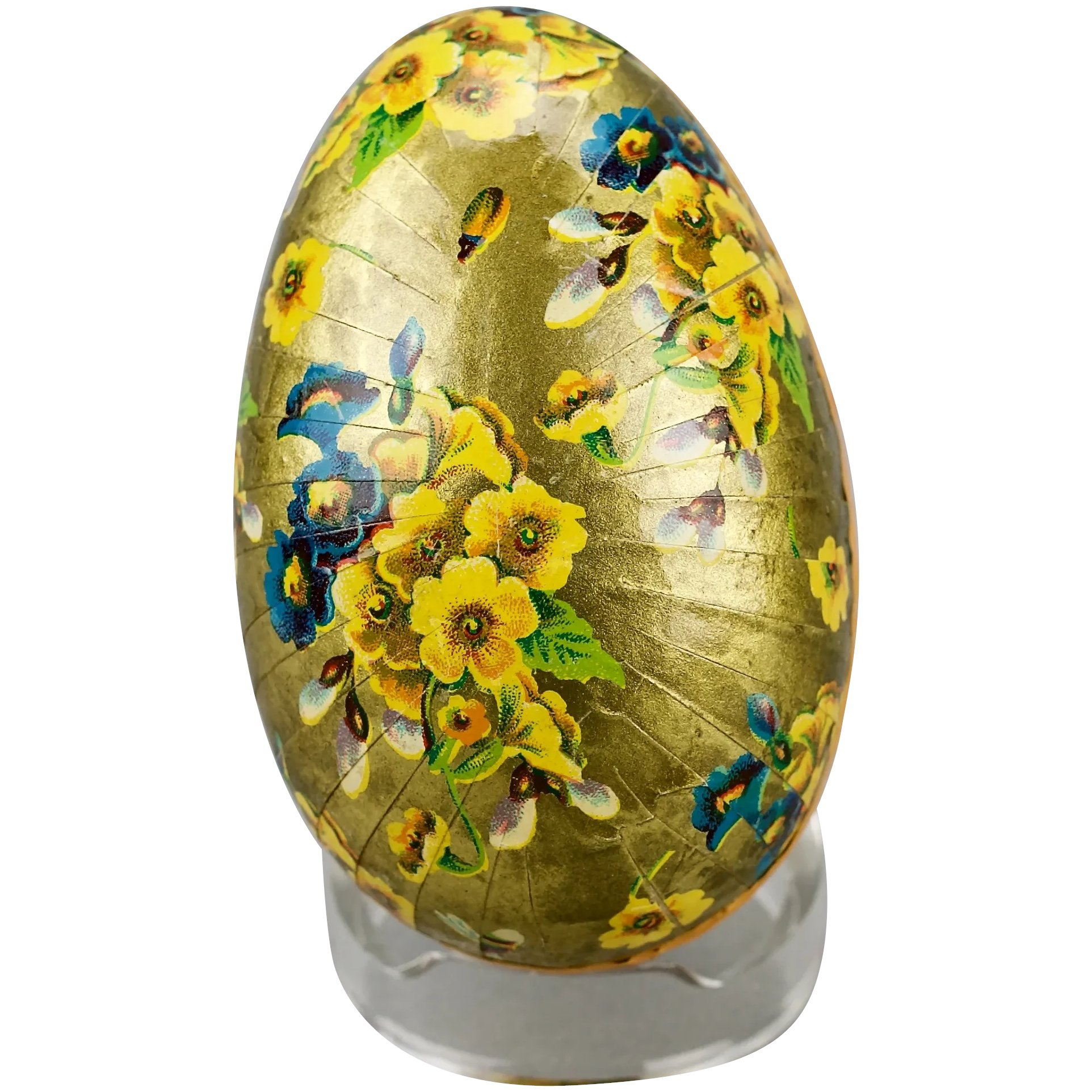 Paper Mache Easter Egg Candy Container Gilded Floral Motif Double
