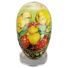 Paper Mache Easter Egg Candy Container Hatching Chick Double Sided Western Germany