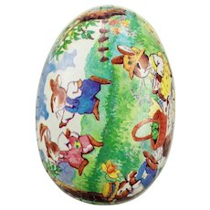 Paper Mache Easter Egg Candy Container Rabbits Having Tea Party Picnic Double Sided