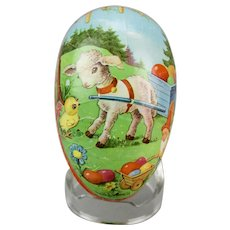 Paper Mache Easter Egg Candy Container Lamb Gnome Chick Double Sided Dresden Trim Western Germany