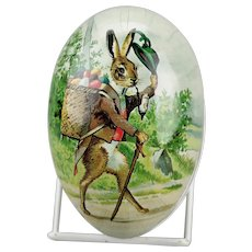 Paper Mache Easter Egg Candy Container Walking Rabbit Pipe Tyrollean Costume Basket Of Eggs Double Sided Germany