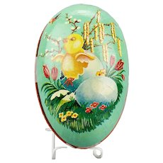 Paper Mache Large Easter Egg Candy Container Hatching Chick Flowers Pussy Willows Double Sided  Western Germany