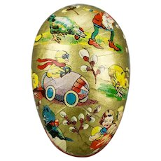 Paper Mache Easter Egg Candy Container Gilded Chick Race Car Boy Girl Cat Gnome Bird Motif Double Sided Western Germany