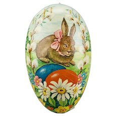 Paper Mache Large Easter Egg Candy Container Rabbit Pink Bow Flowers Double Sided  Western Germany