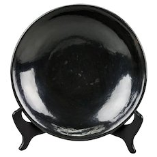 Native American Lupita Vigil Martinez Black Pottery Shallow Dish San Ildefonso Pueblo c.1960's