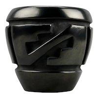 Betty & Lee Tafoya Native American Carved Incised Motif Black Pottery Vessel Santa Clara Pueblo