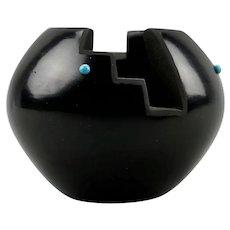 Vida Baca Native American Zuni Carved Black Pottery Miniature Bowl With Inlaid Turquoise Motif Santa Clara Pueblo
