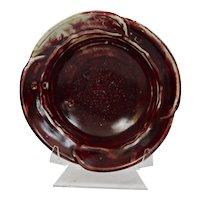 John Glick Plum Tree Pottery Porcelain Bowl Burgundy Glaze Signed