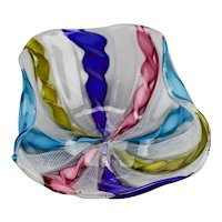 Venetian Murano Latticino Ribbon Glass Small Dish Rainbow Of Colors Italy
