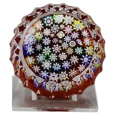 Peter McDougall Ribbed Cased Small Paperweight Close Packed Millefiori PMcD Studio Ltd. Crieff Scotland