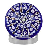 John Deacons Paperweight Concentric Spoke Pattern Millefiori Canes Blue Cushion Base
