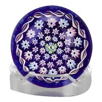John Deacons Paperweight Concentric Pattern Millefiori Canes Blue Cushion Base