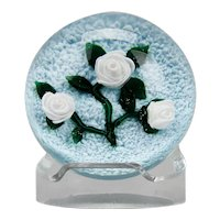 Ray Banford Paperweight White Floral Lamp Work American c.1980's