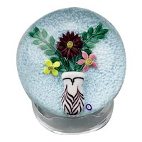 Bob Banford Paperweight Floral Lamp Work And Feather Pulled Vase American c.1980's