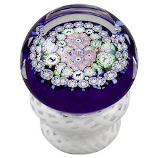 John Deacons Paperweight Close Pack Millefiori Silhouette Canes And Facets Piedouche Pedestal